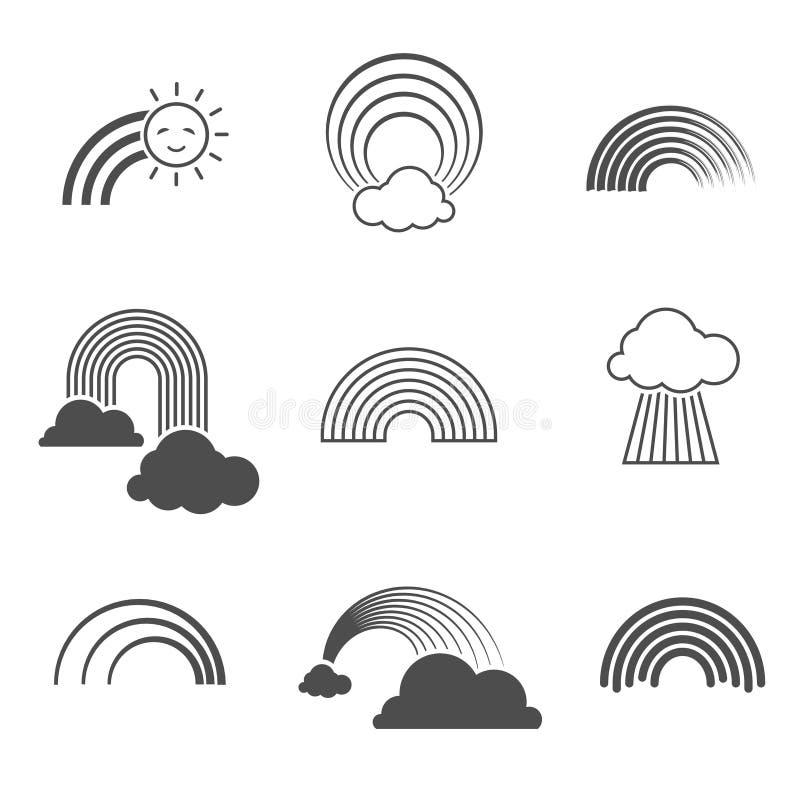 Ícones preto e branco do arco-íris do vetor Sinais dos arcos-íris do verão isolados no fundo ilustração royalty free