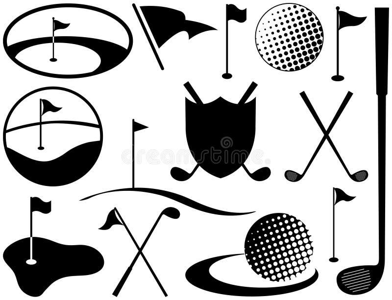Ícones preto e branco do golfe ilustração do vetor