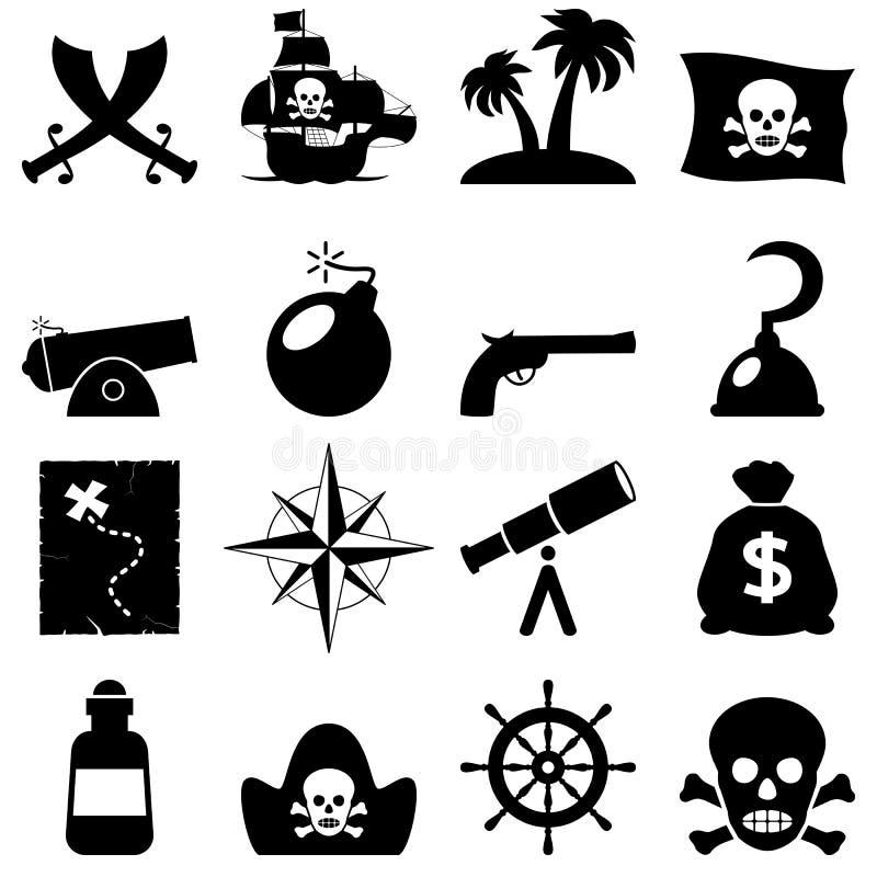 Ícones preto e branco dos piratas ilustração royalty free