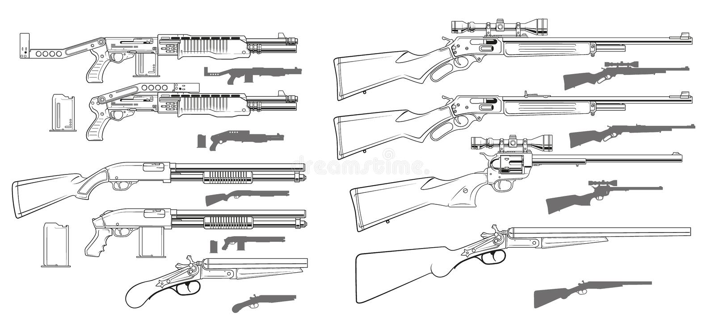 Ícones preto e branco gráficos das espingardas e dos rifles ilustração royalty free