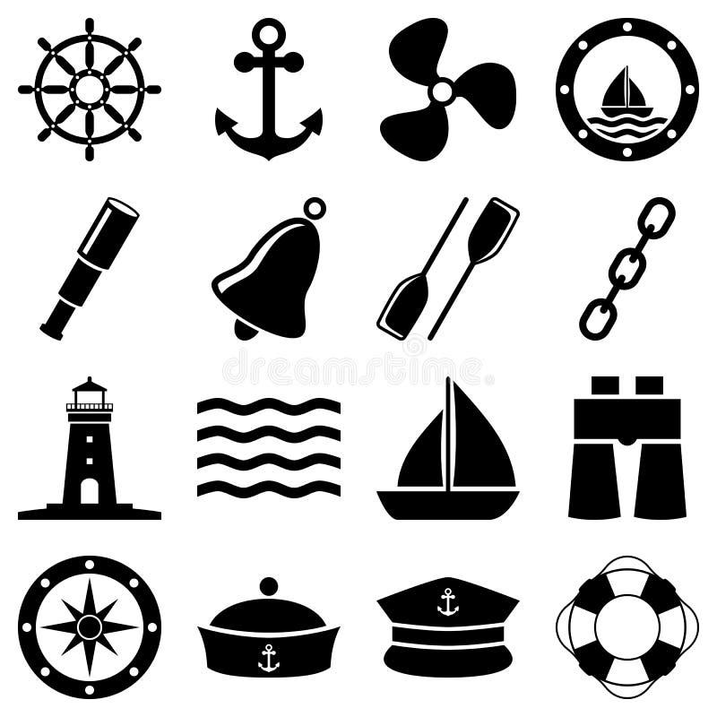Ícones preto e branco náuticos ilustração royalty free