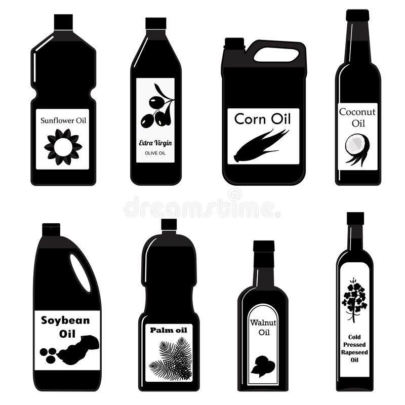 Ícones pretos ajustados do vetor do óleo para fritar ilustração royalty free