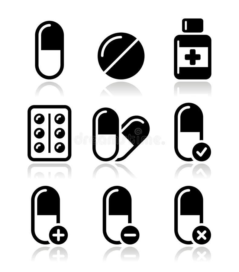 Comprimidos, ícones da medicamentação ajustados ilustração royalty free