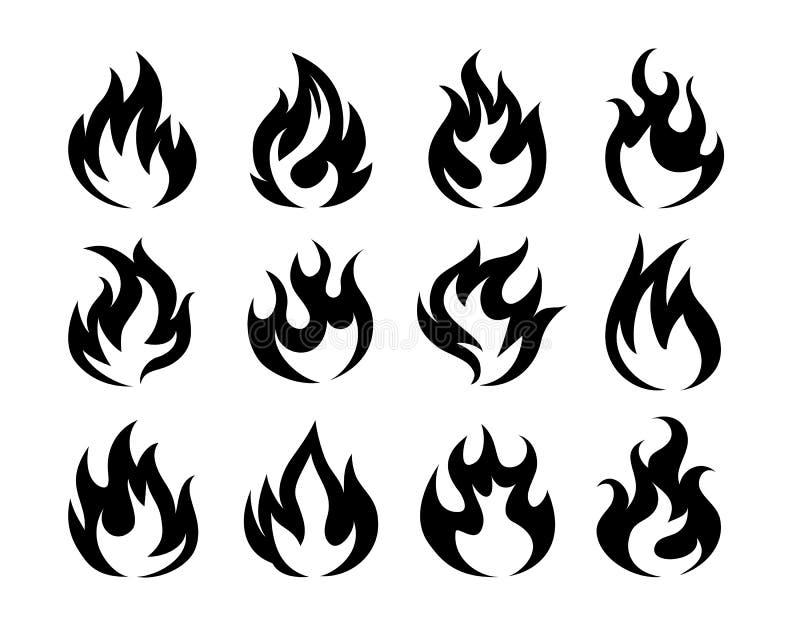 Ícones pretos da chama do fogo do vetor ilustração do vetor