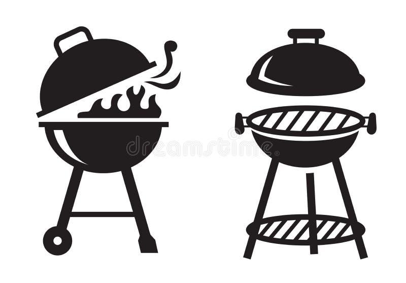 Ícones pretos da grade do BBQ ilustração stock