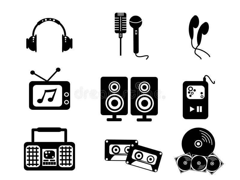 Ícones pretos da música ilustração stock