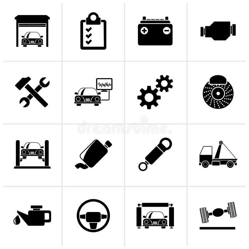 Ícones pretos da manutenção do serviço do carro ilustração do vetor