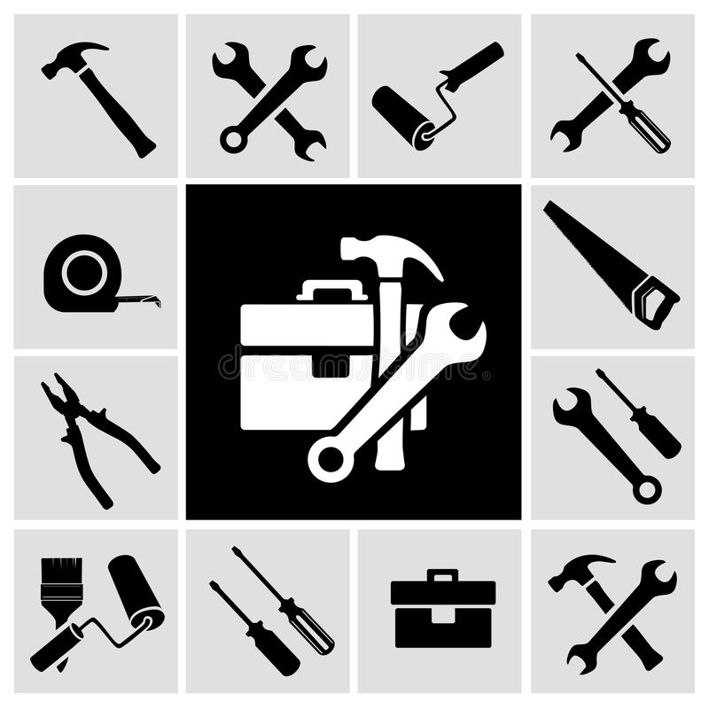 Ícones pretos das ferramentas do carpinteiro ajustados ilustração royalty free