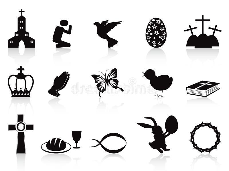 Ícones pretos de easter ajustados ilustração stock