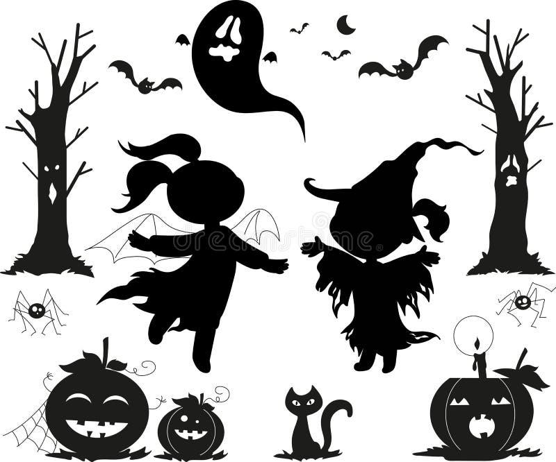 Ícones pretos de Halloween para miúdos fotos de stock