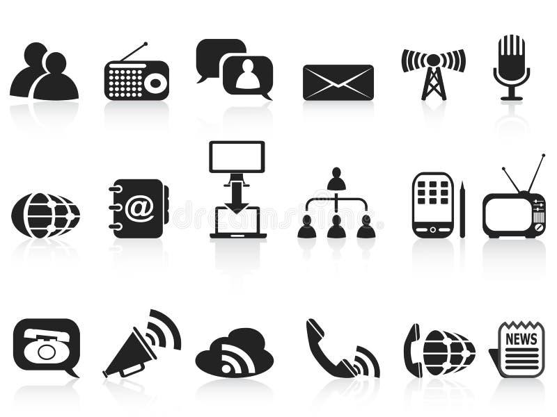 Ícones pretos de uma comunicação ajustados ilustração do vetor