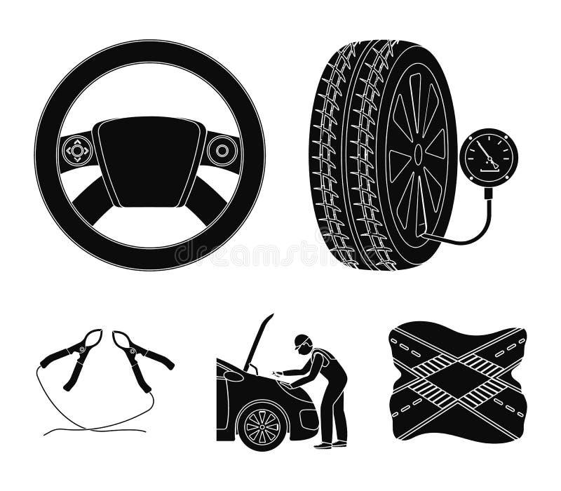 Ícones pretos do ajuste, do volante, da braçadeira e da roda do motor na coleção do grupo para o projeto Estação da manutenção do ilustração do vetor