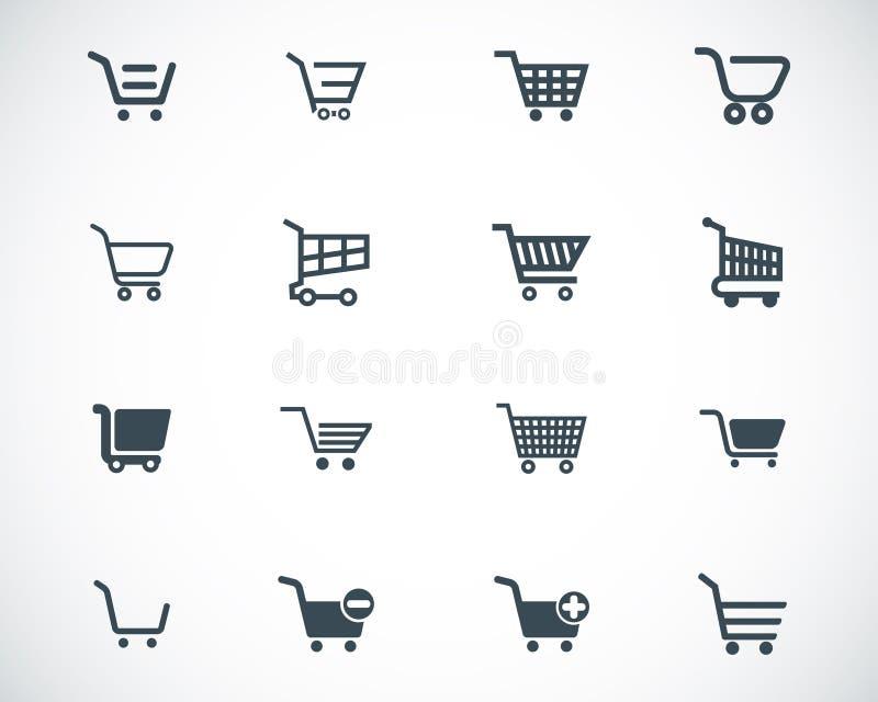 Ícones pretos do carrinho de compras do vetor ilustração do vetor