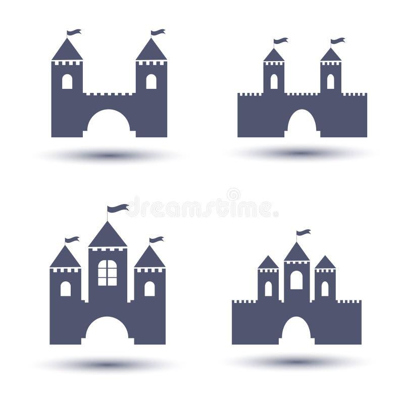 Ícones pretos do castelo ajustados ilustração do vetor