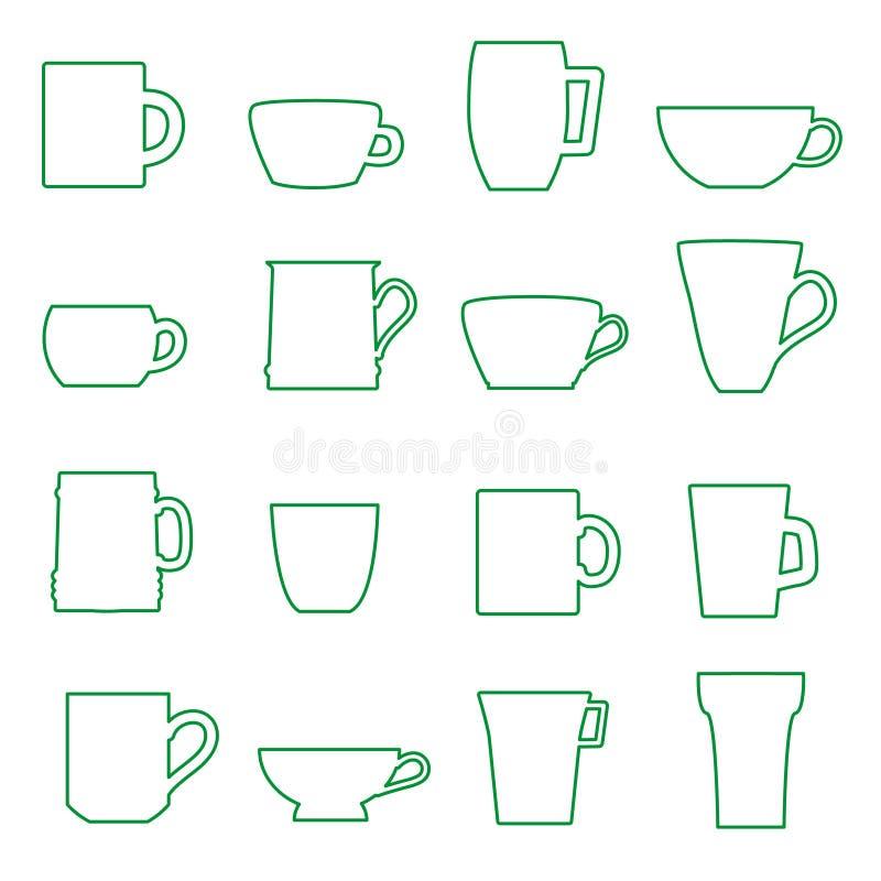 Ícones pretos do esboço das canecas e dos copos ajustados ilustração stock