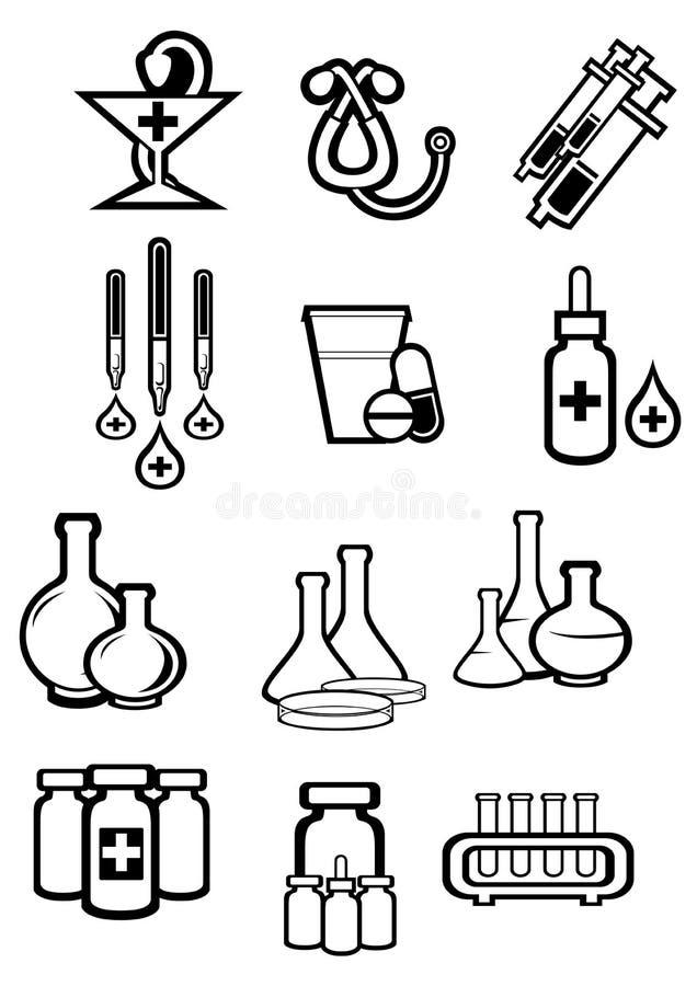Ícones pretos do esboço do esboço da medicina ou das drogas ilustração stock
