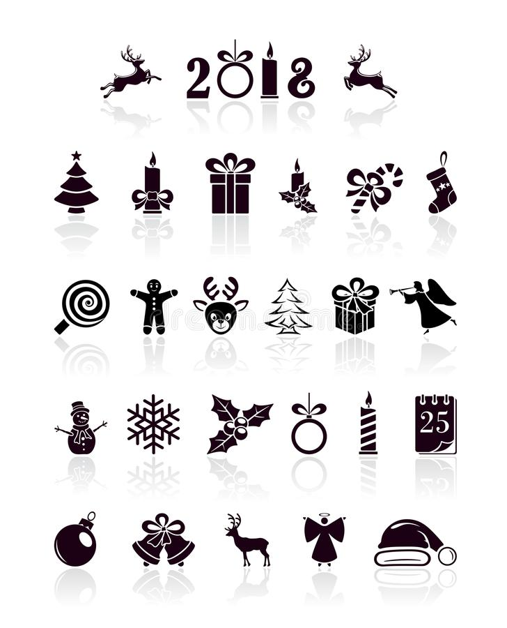 Ícones pretos do Natal ilustração do vetor