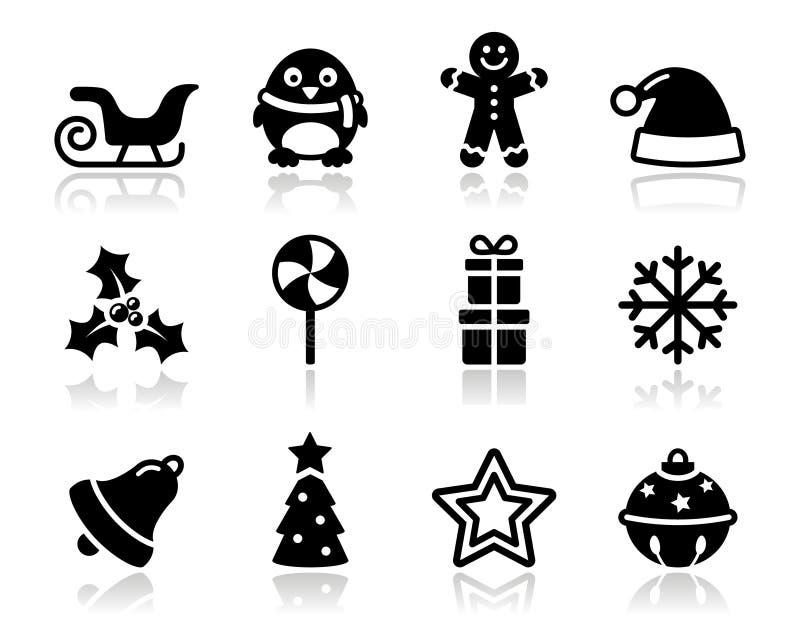 Ícones pretos do Natal com jogo da sombra ilustração royalty free