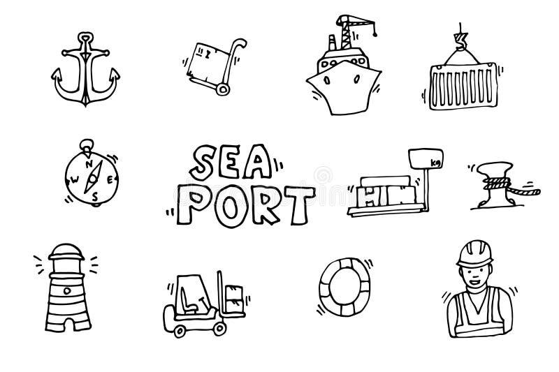 Ícones pretos do porto marítimo ajustados ilustração do vetor