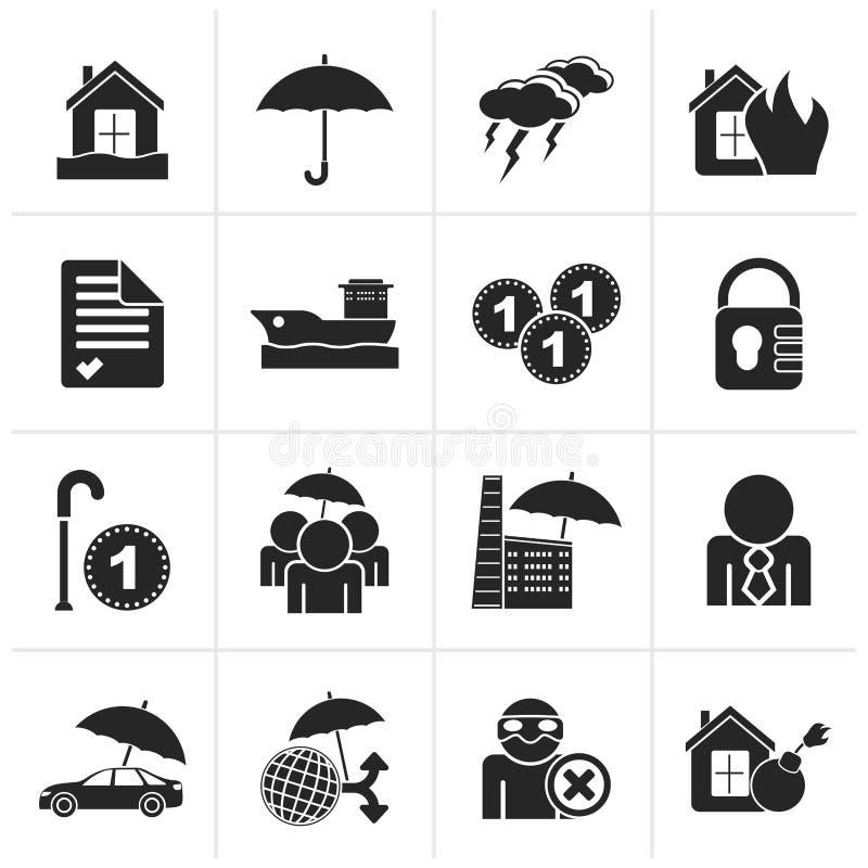 Ícones pretos do seguro e do risco ilustração royalty free