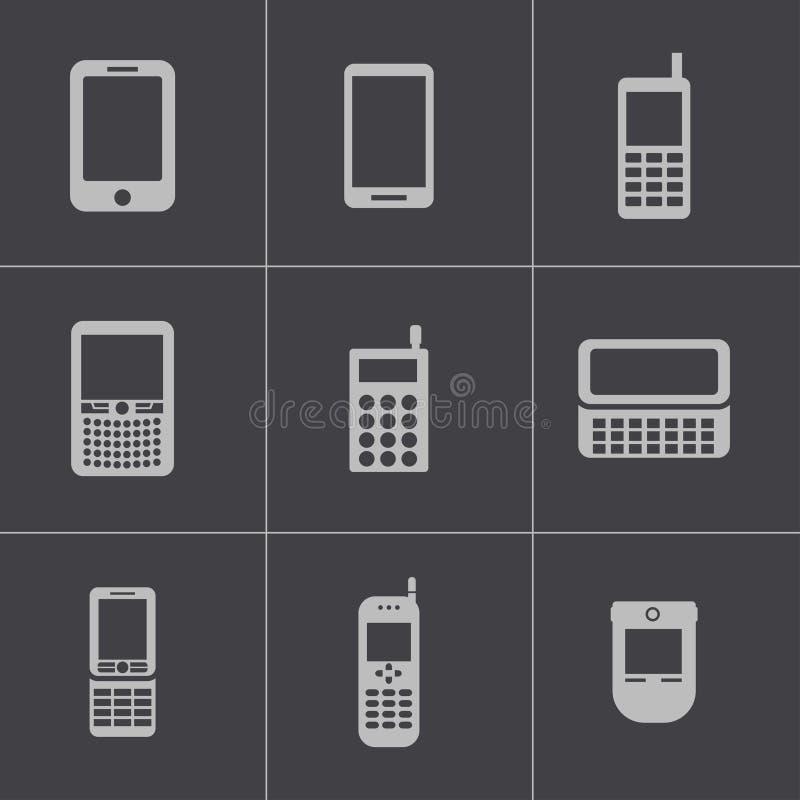 Ícones pretos do telefone celular do vetor ajustados ilustração do vetor