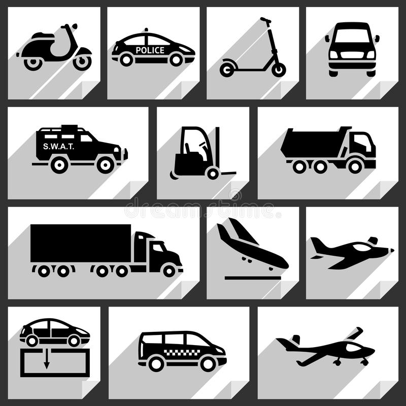 Ícones pretos do transporte ilustração stock