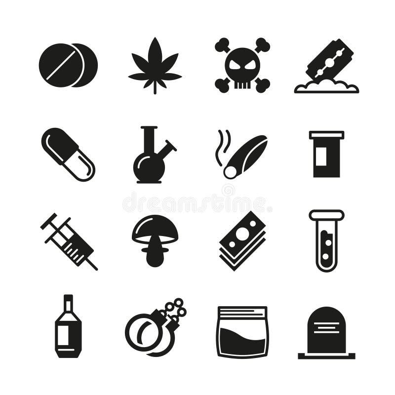 Ícones pretos do vetor das drogas ajustados ilustração do vetor