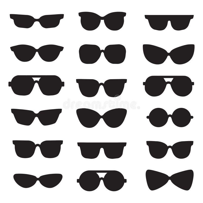 Ícones pretos do vetor das silhuetas dos óculos de sol ajustados projeto minimalistic moderno ilustração stock