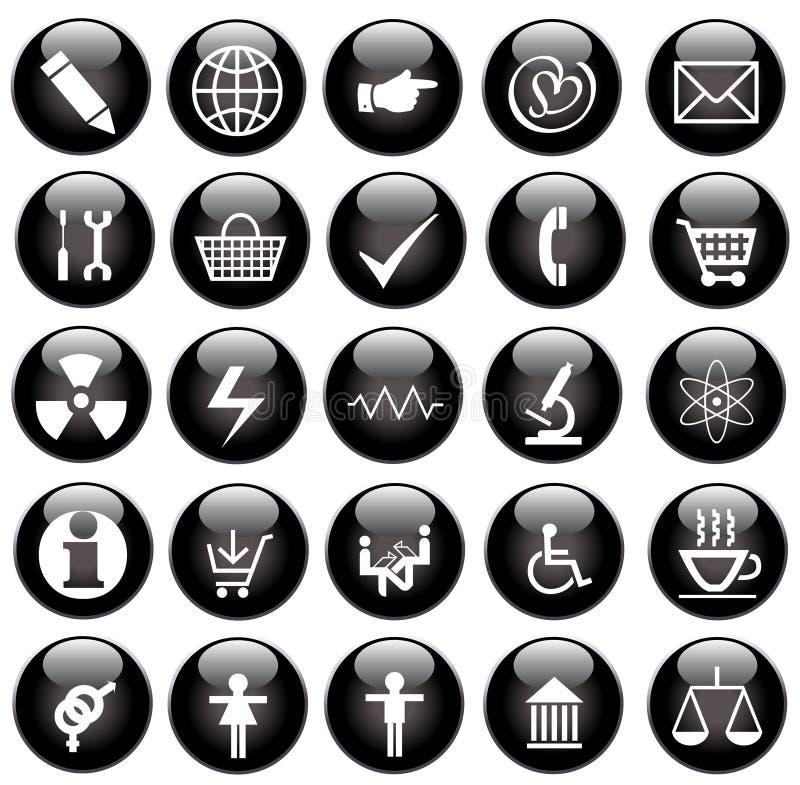 Ícones pretos do Web do vetor ajustados ilustração stock
