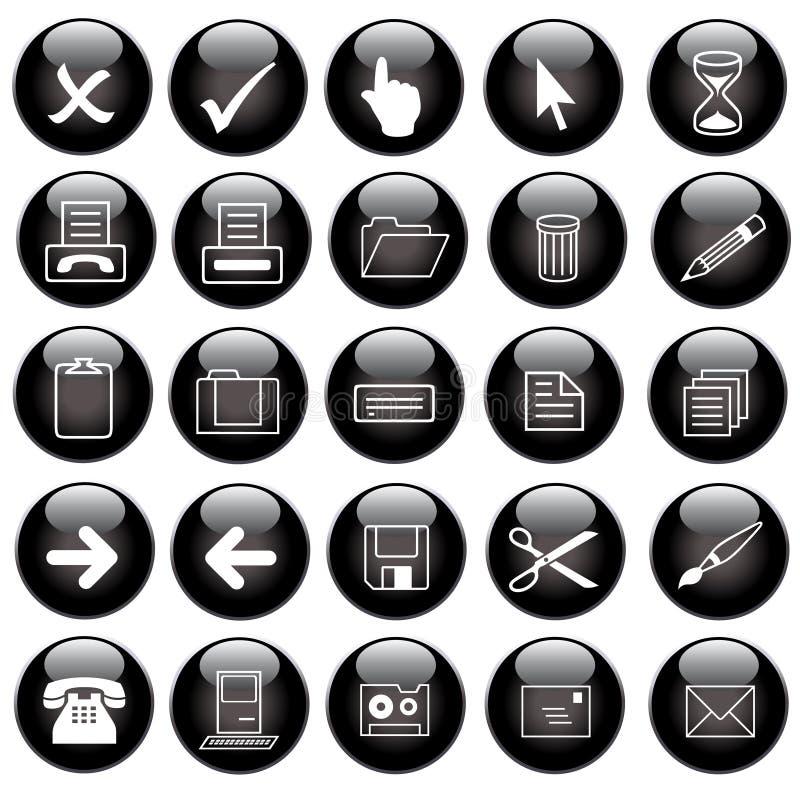 Ícones pretos do Web do vetor ajustados ilustração do vetor