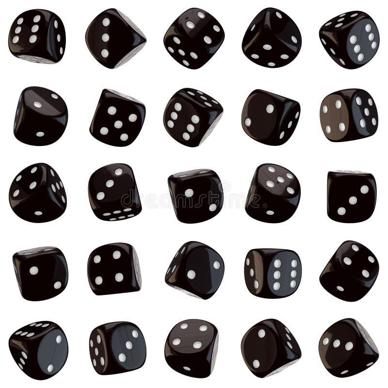 Ícones pretos dos dados ilustração stock