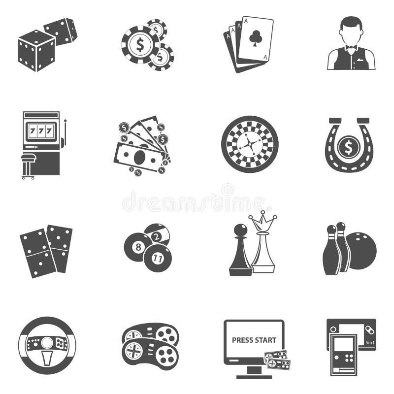 Ícones pretos dos jogos de jogo do casino ajustados ilustração stock