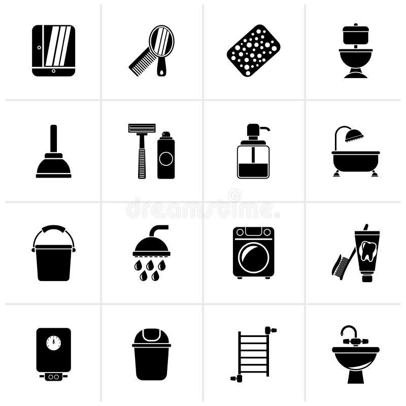 Ícones pretos dos objetos do banheiro e da higiene ilustração do vetor