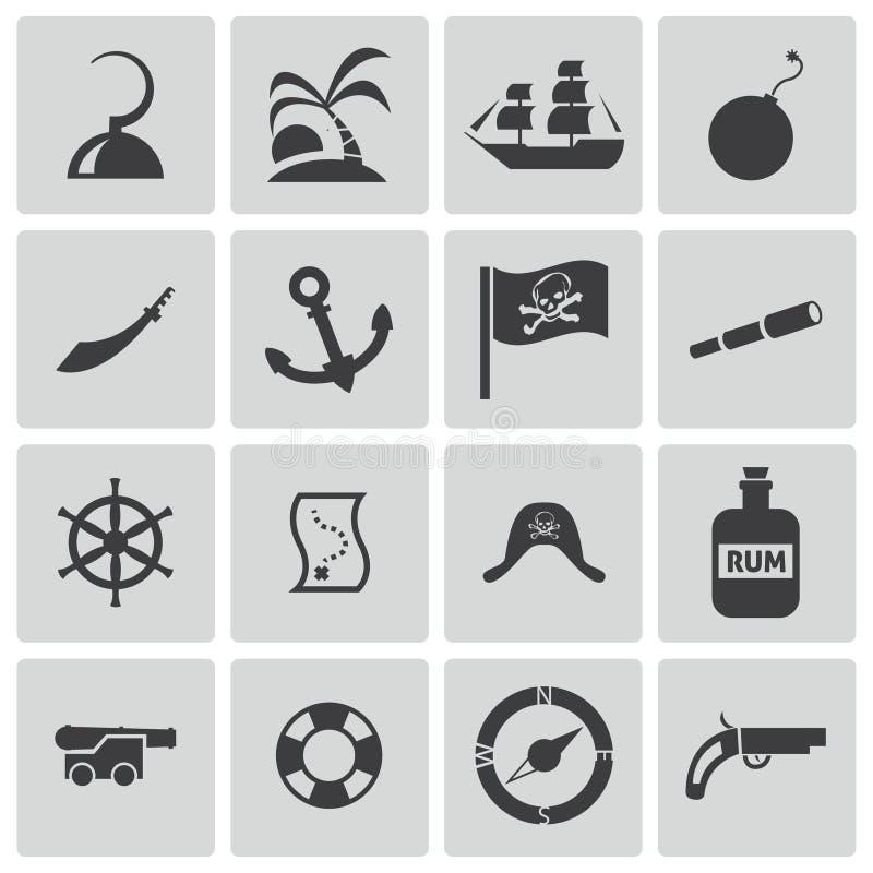 Ícones pretos dos piratas do vetor ajustados ilustração stock