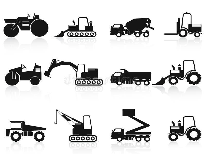 Ícones pretos dos veículos da construção ajustados ilustração stock