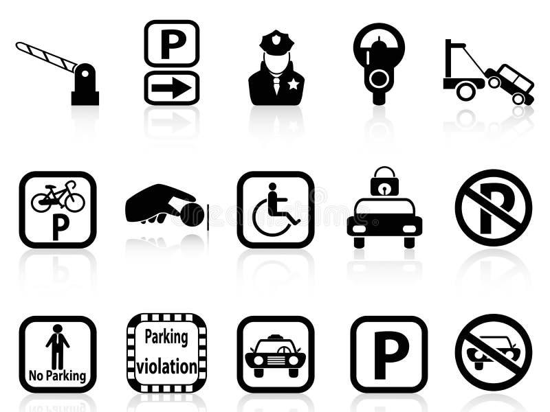 Ícones do estacionamento do carro ilustração do vetor
