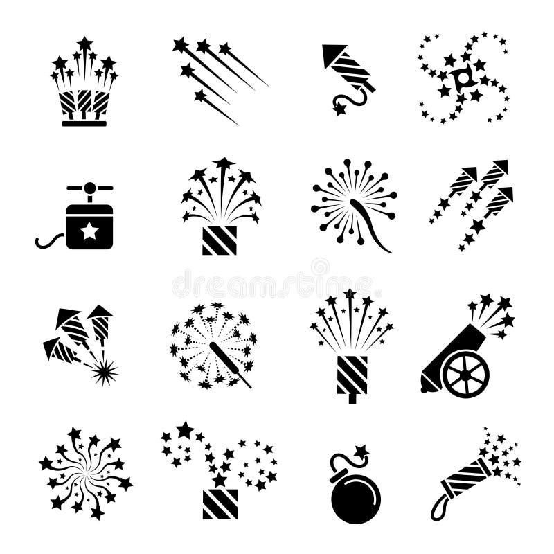Ícones pretos pirotécnicos ilustração stock