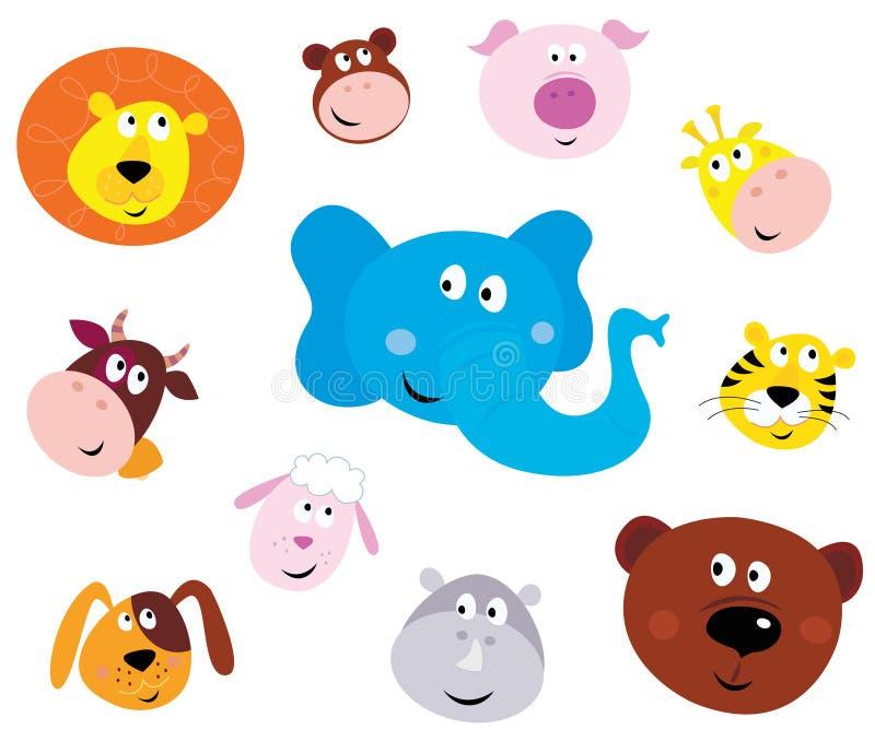 Ícones principais animais de sorriso bonitos (emoticons) ilustração royalty free