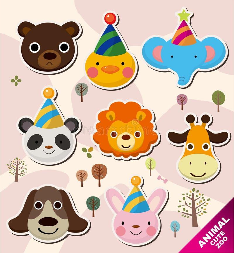 Ícones principais animais dos desenhos animados ilustração stock