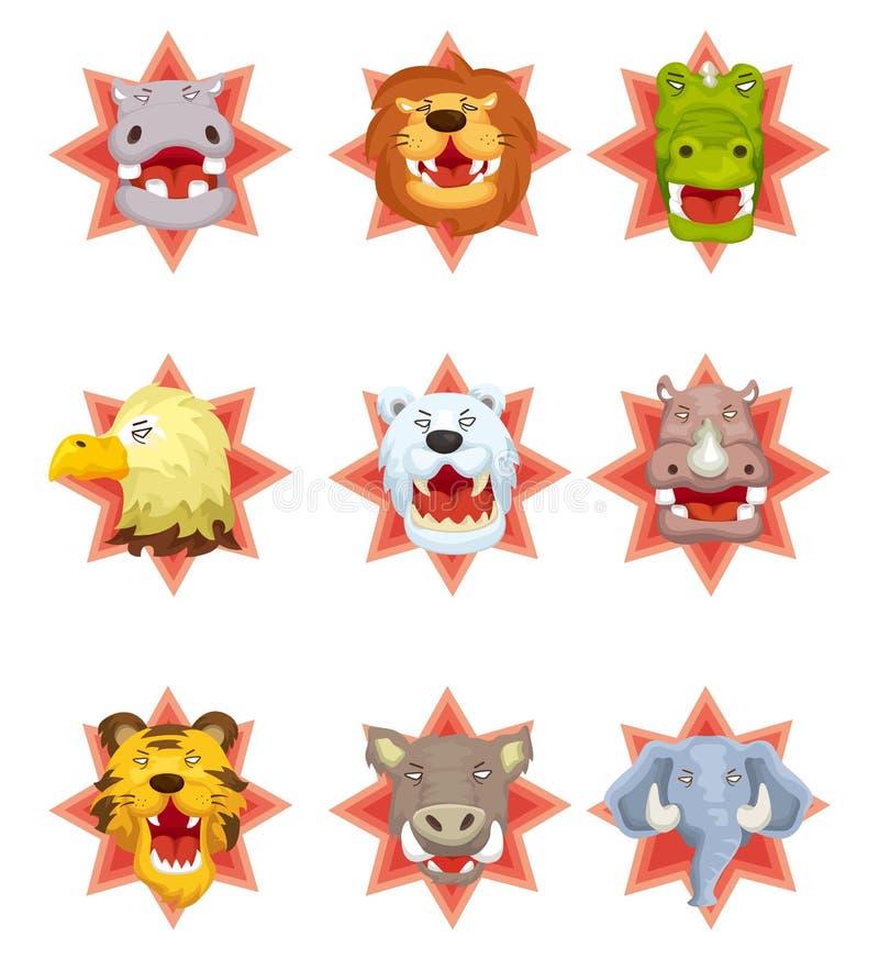 Ícones principais animais irritados dos desenhos animados ilustração royalty free