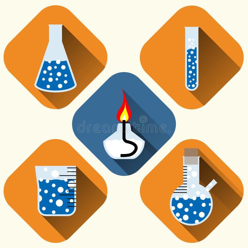 Ícones químicos ajustados ilustração do vetor
