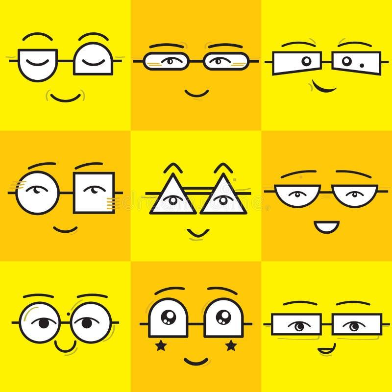 Ícones quadrados amarelos e alaranjados bonitos das caras do sorriso dos emoticons das etiquetas ajustados ilustração royalty free