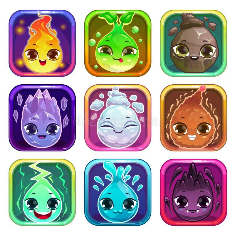 Ícones quadrados arredondados do app com caráteres engraçados ilustração royalty free