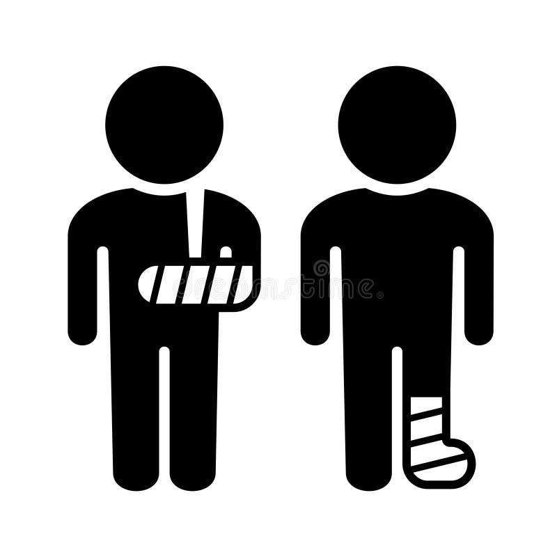 Ícones quebrados do braço e do pé ajustados Vetor ilustração do vetor