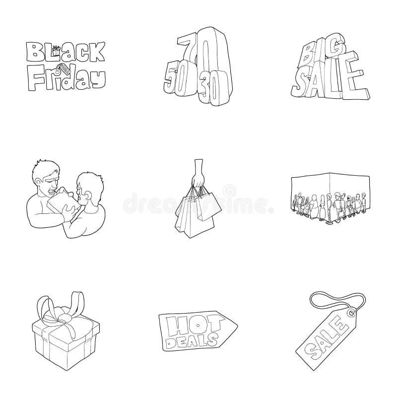 Ícones quentes ajustados, estilo do preço do esboço ilustração royalty free