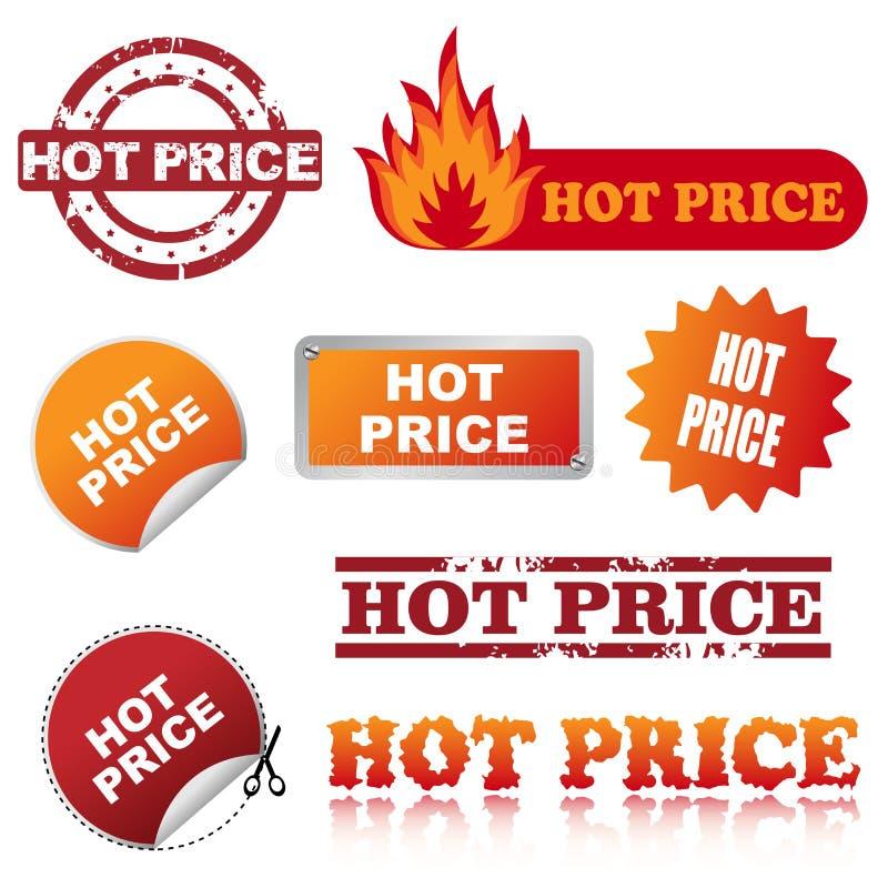 Ícones quentes do preço ilustração stock