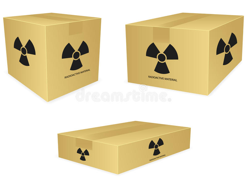 Ícones radioativos da caixa ilustração royalty free