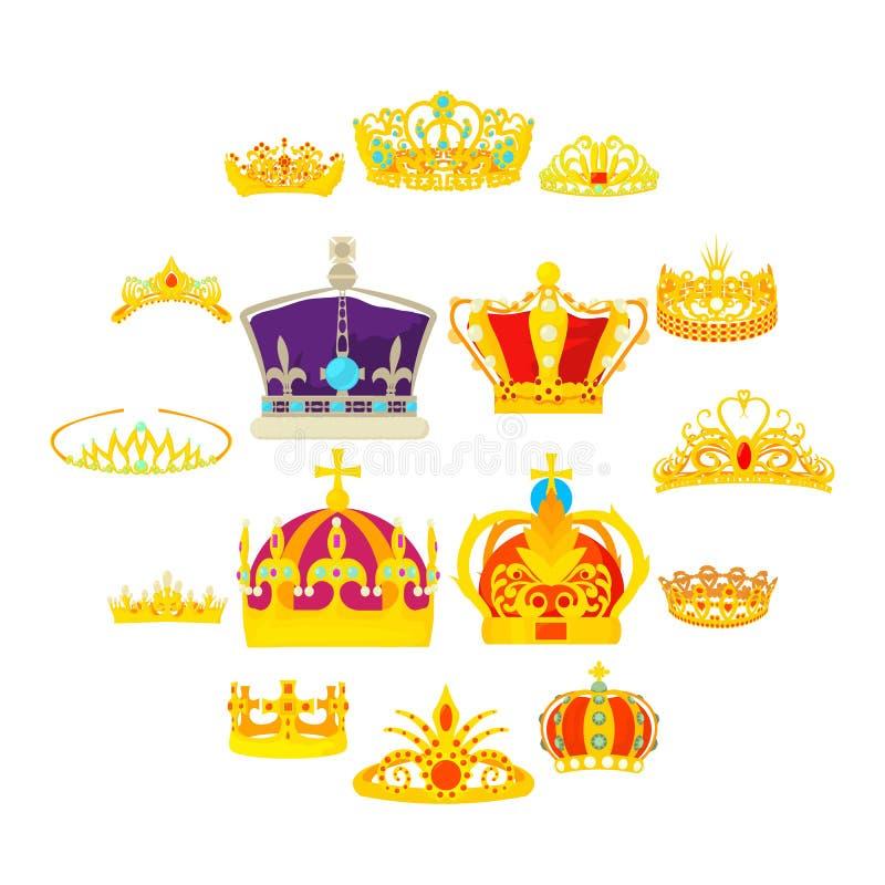 Ícones reais ajustados, estilo da coroa dos desenhos animados ilustração do vetor