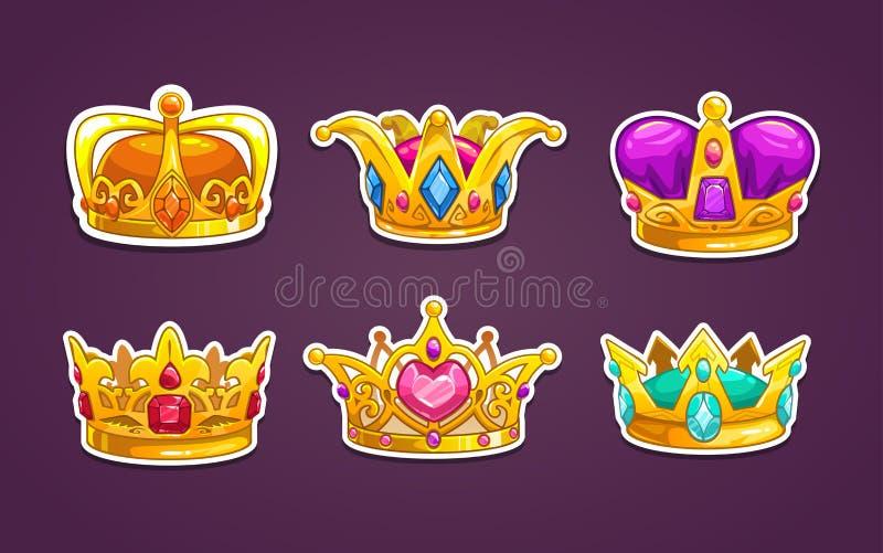 Ícones reais da coroa dos desenhos animados ajustados ilustração royalty free