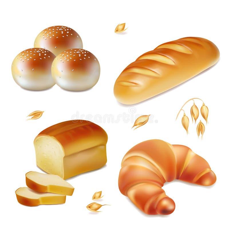 Ícones realísticos da padaria do vetor do pão ajustados ilustração royalty free
